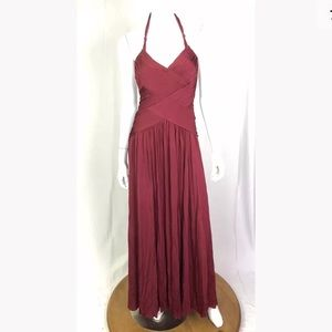 BCBG Crimson Draped Jersey Gown Halter Maxi Dress